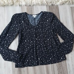 Love, Fire Tie Front Star Printed Blouse